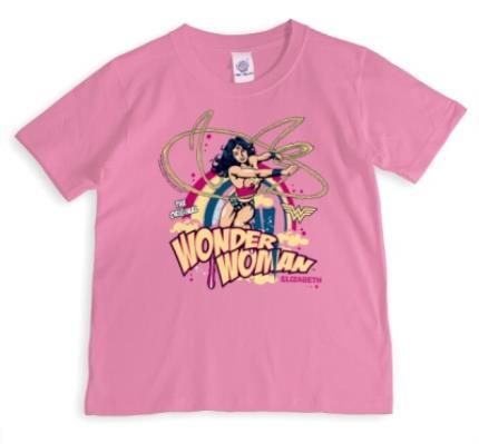 T-Shirts - Wonder Woman Vintage Personalised Name Neon Pink T-Shirt - Image 1