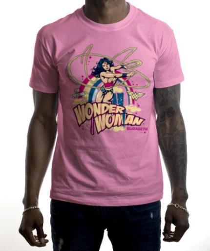 T-Shirts - Wonder Woman Vintage Personalised Name Neon Pink T-Shirt - Image 2