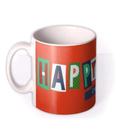 Mugs - Big Bright Letters Happy Xmas Custom Name Mug - Image 1