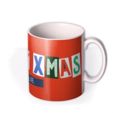 Mugs - Big Bright Letters Happy Xmas Custom Name Mug - Image 2