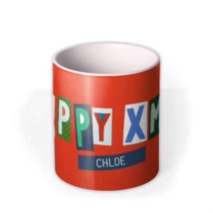 Mugs - Big Bright Letters Happy Xmas Custom Name Mug - Image 3