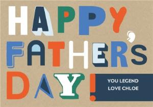 Greeting Cards - Bold & Bright Modern Typography Happy Father's Day Card - Image 1