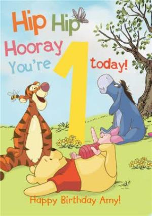 Greeting Cards - 1 Today - 1st Birthday Card - Winnie The Pooh Kids Card - Image 1