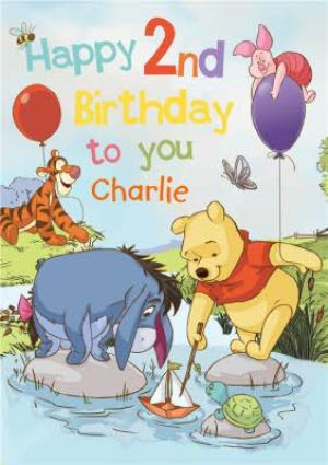 Disney Winnie The Pooh Happy 2Nd Birthday Personalised Card
