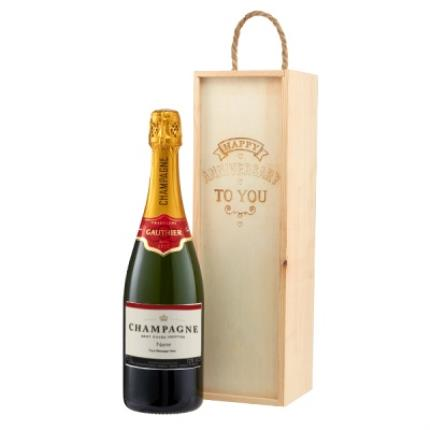 Alcohol Gifts - Personalised Champagne With Anniversary Gift Box - Image 1