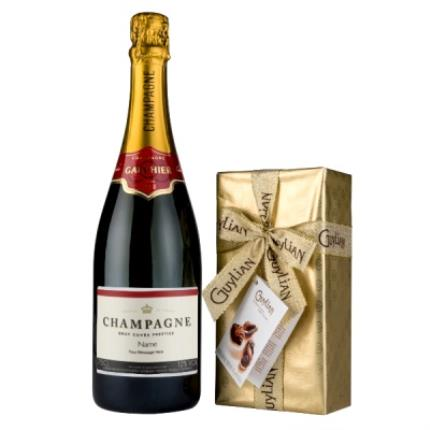 Alcohol Gifts - Personalised Gauthier Champagne 75cl & Guylin Chocolate Box - Image 1