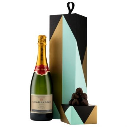 Alcohol Gifts - Personalised Gauthier Champagne With Geometric Gift Box & Truffles - Image 1