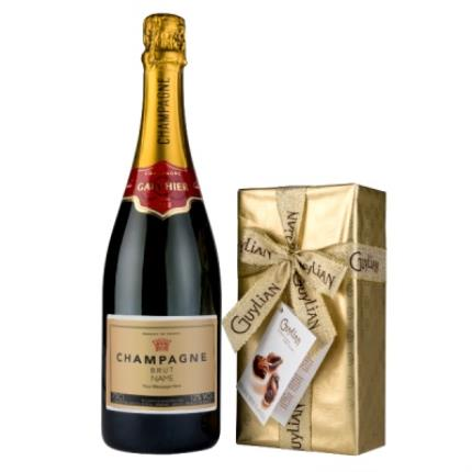 Alcohol Gifts - Personalised Gauthier Champagne 75cl & Guylian Chocolate Box - Image 1