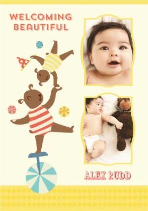 Greeting Cards - Balancing Circus Act New Baby Multi-Photo Card - Image 1