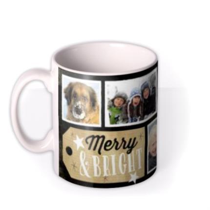 Mugs - Merry Christmas Black Tag Photo Upload Mug - Image 1