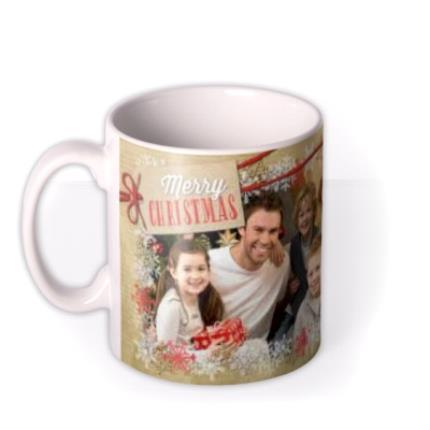 Mugs - Merry Christmas Snowflake Frame Photo Upload Mug - Image 1