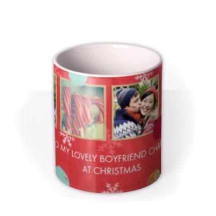 Mugs - Christmas Spots and Snowflakes Photo Upload Mug - Image 3
