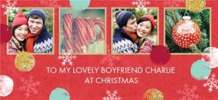 Mugs - Christmas Spots and Snowflakes Photo Upload Mug - Image 4