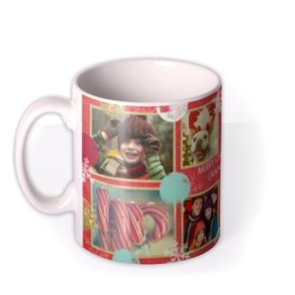 Mugs - Christmas Spots and Snowflakes Collage Photo Upload Mug - Image 1