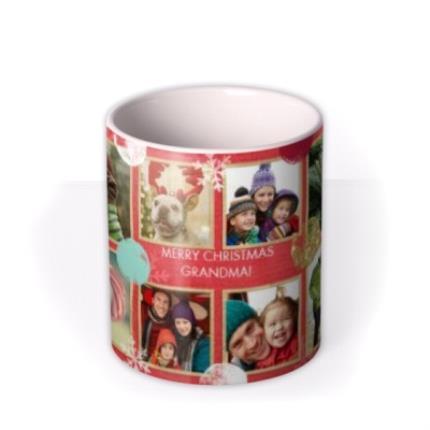 Mugs - Christmas Spots and Snowflakes Collage Photo Upload Mug - Image 3