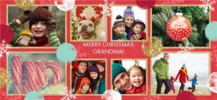 Mugs - Christmas Spots and Snowflakes Collage Photo Upload Mug - Image 4