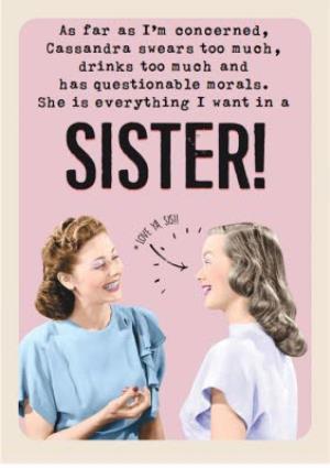 Love Ya Sis Funny Sister Birthday Card
