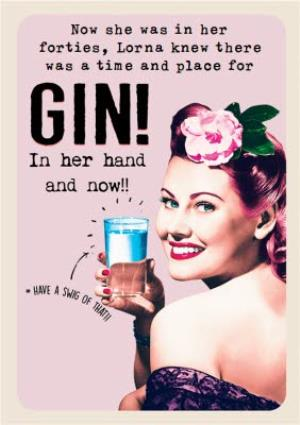 Funny Retro Gin Birthday Card For Her