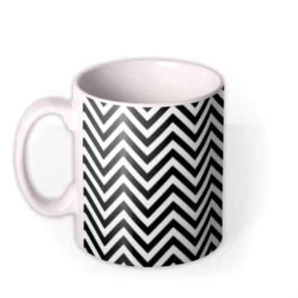 Mugs - Black & White Chevron and Gold Glitter Personalised Mug - Image 1