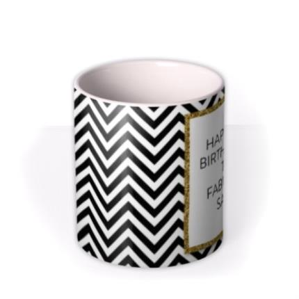 Mugs - Black & White Chevron and Gold Glitter Personalised Mug - Image 3