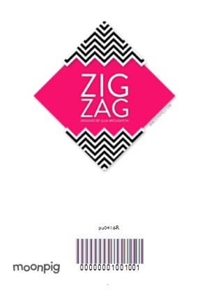 Greeting Cards - Black And White Zig Zag Personalised Double Photo Upload Happy Birthday Card - Image 4