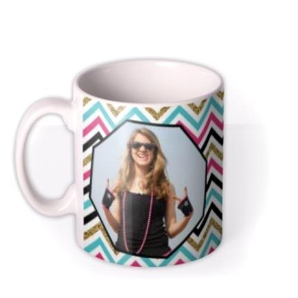 Mugs - Good Luck Zig Zag Photo Upload Mug - Image 1