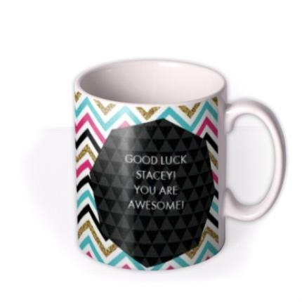 Mugs - Good Luck Zig Zag Photo Upload Mug - Image 2