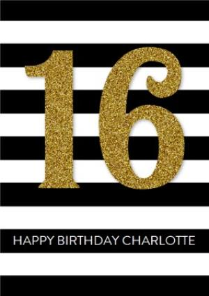 Greeting Cards - Black And White Stripes Personalised Happy 16th Birthday Card - Image 1
