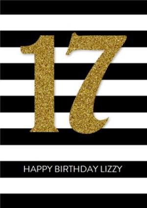 Black And White Stripe Personalised Happy 17th Birthday Card