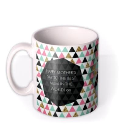 Mugs - Geometric Pattern Best Mum In The World Photo Mug - Image 1