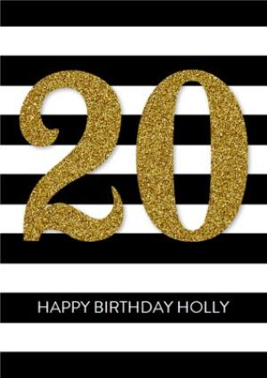 Greeting Cards - Black And White Stripes Personalised Happy 20th Birthday Card - Image 1