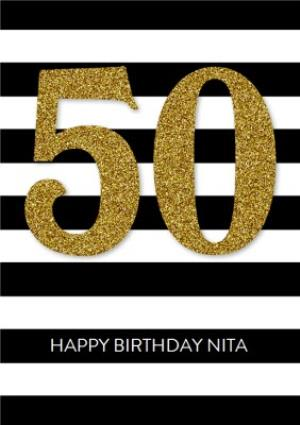 Greeting Cards - Black And White Striped Metallic 50th Birthday Card - Image 1