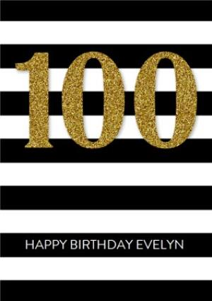 Greeting Cards - Black And White Striped Happy 100th Birthday Card - Image 1