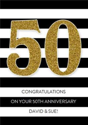 Greeting Cards - Black And White Stripes With Glitter Number Personalised Happy 50th Birthday Card - Image 1