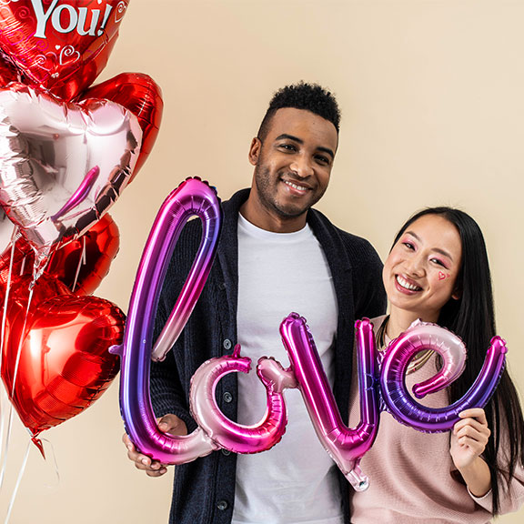 big love valentines day balloons by post
