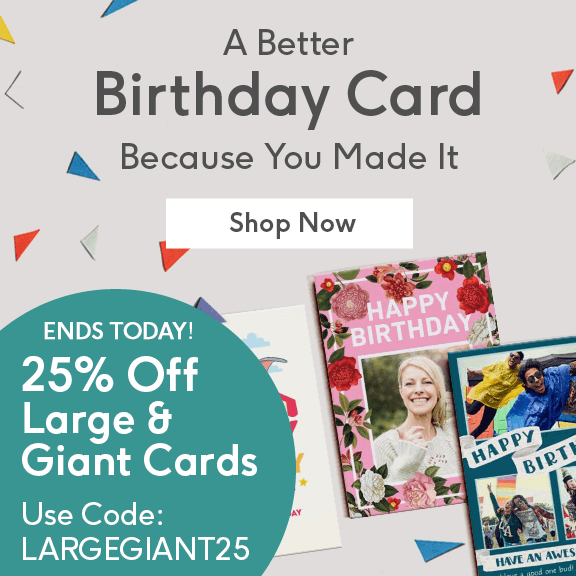 25 Off Large Giant Cards Use Code LARGEGIANT25 At Checkout Personalised Birthday