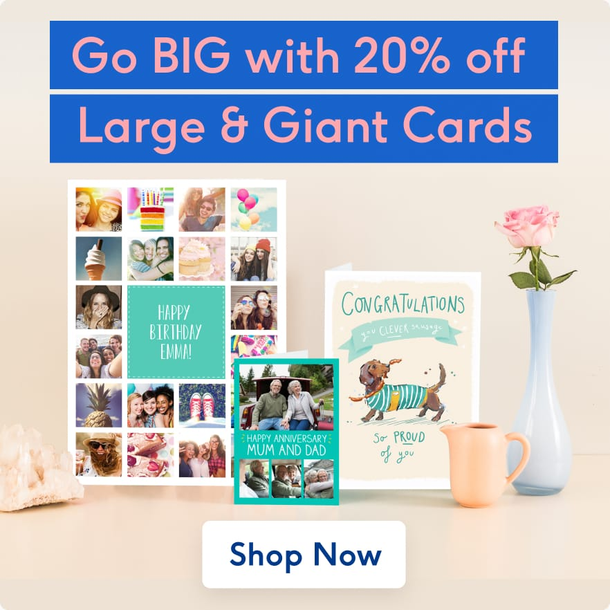 20 percent off Large and Giant Cards